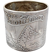 Blackinton Sterling Child's Napkin Ring Cat And The Fiddle Nursery Rhyme 19th c