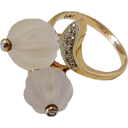 Diamond And Crystal Beads 14k Gold Ring Size 8