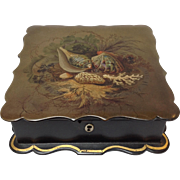 Seashell Hand Painted Lacquer Box 19th c