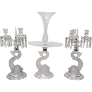Antique Baccarat Dolphin Eperegne and Candleabra