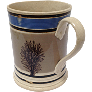 Mochaware Seaweed and Blue Mug English C. 1800's