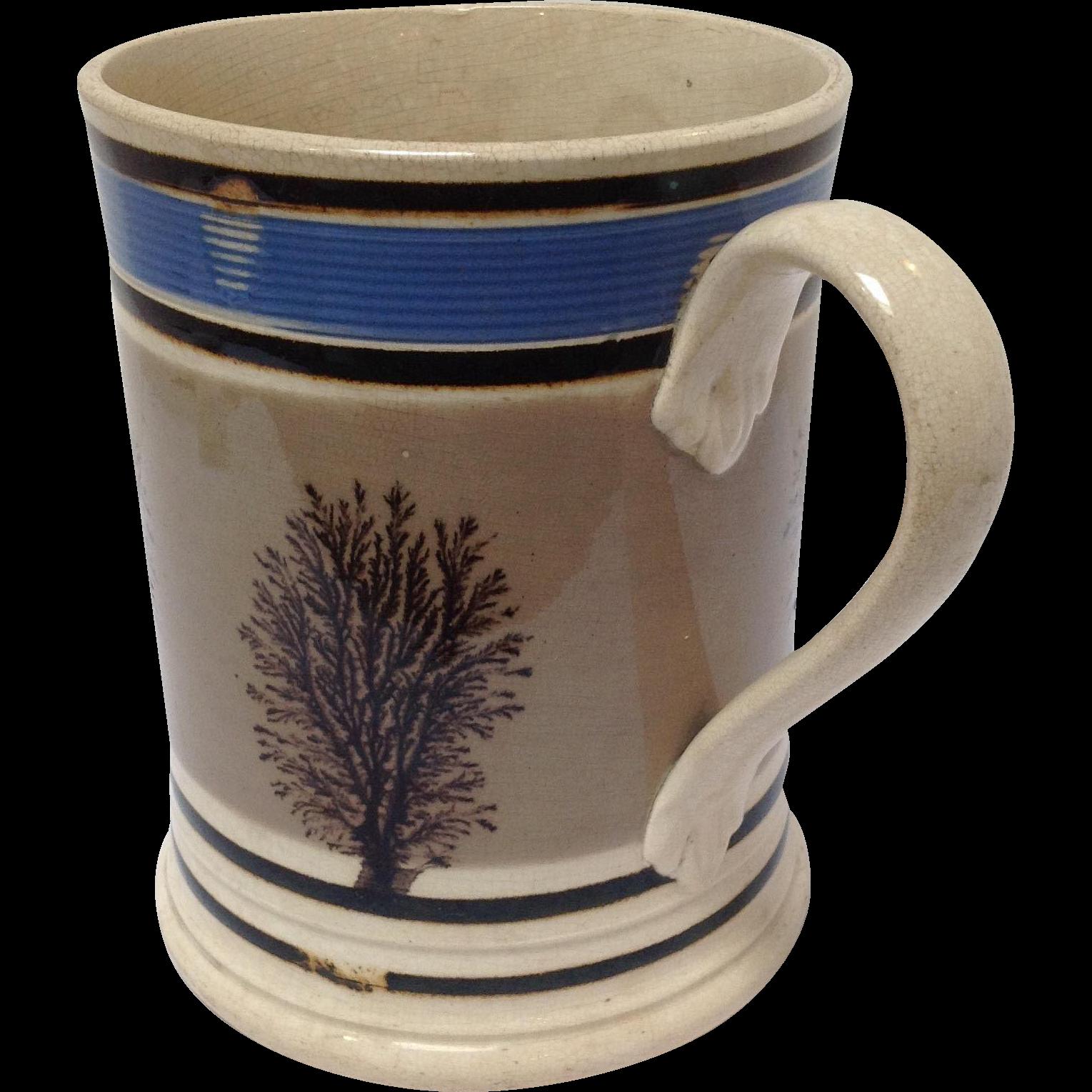 Mochaware Seaweed and Blue Mug English C. 1800u0026#39;s from antiquesofriveroaks on Ruby Lane