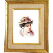 Young Boy Painted Tile Signed Georges Poileviy
