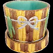 Majolica Bamboo Design Planter