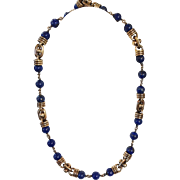 """Lapis and Sterling Necklace by Celia Harms  31"""""""
