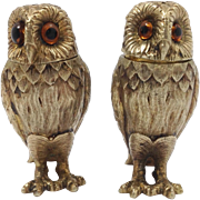 Tiffany Owl Sterling Figural Salt And Pepper Shakers