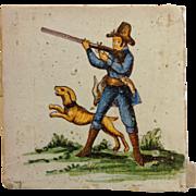 Antique Hunter Italian Decorative Tile