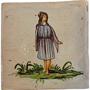 Antique Girl Italian Decorative Tile