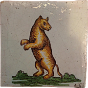 Bear Tile Antique Italian 19th c