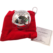 Wallace Limited Edition Christmas Sleigh Bell Ornament 2001