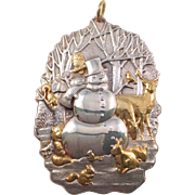 Buccellati Snowman and Forest Fauna Gilded Sterling Christmas Ornament