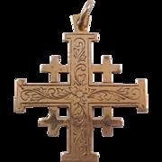 Jerusalem Cross Pendant 14k