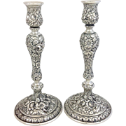 "Pair Of Schultz 10"" Repousse Sterling Candlesticks"