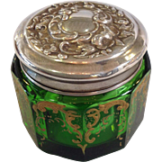 Green Glass and Gold Enamel Jar with Sterling Lid
