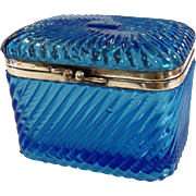 Russian Cobalt Molded Glass Casket