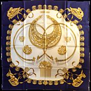 "Hermes Les Cavaliers D'or Navy Silk Scarf 35"""