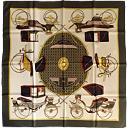 """Hermes Les Voitures a Transformation Silk Scarf Designed by La Perriere 35"""""""