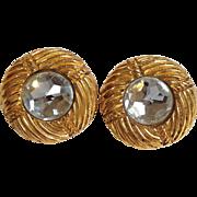 Chanel Rhinestone Gold Tone Earrings