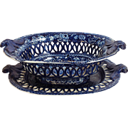 Historic Staffordshire Chestnut Basket And Under Plate 19th C.
