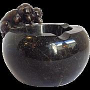 Vienna Bronze Puppies Black Marble Ashtray