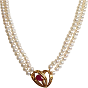 Ruby Heart and Pearl Double Strand Necklace 14k