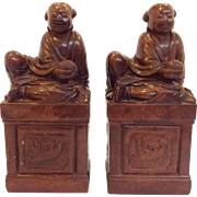 Chinese Soapstone Robed Men Bookends