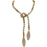 Crystal And Gold Bead Lariat Necklace 14k