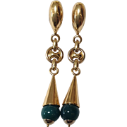 """Crysophase And Gold 3"""" Drop Earrings 14k"""