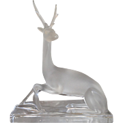 Lalique Frosted Sitting Sef Deer on Base  #11630