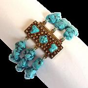 Turquoise Three Strand Bracelet Sterling