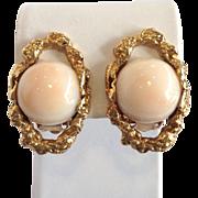 Angel Skin Coral Earrings 14k Nugget Clip Back