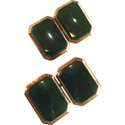 Jade And Gold Rectangular Cufflinks