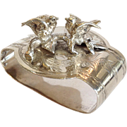 Gorham Figural Birds Napkin Ring Sterling Circa 1874