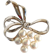 Mikimoto Pearl Cluster Bow Pin Sterling