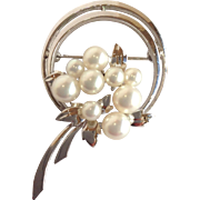 Mikimoto Pearl Cluster Flower Circle Pin Sterling