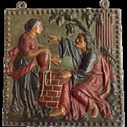 Iron Fireback Religious Figures Original Paint
