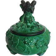 Musician Malachite Glass Powder Jar Ingrid Line 1930's