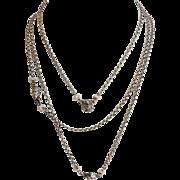 "Art Nouveau Five Faces Fine Chain Necklace Sterling and Pearl 60"" Long"