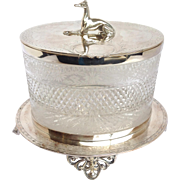 Greyhound English Cut Glass and Silverplate Footed Biscuit Box