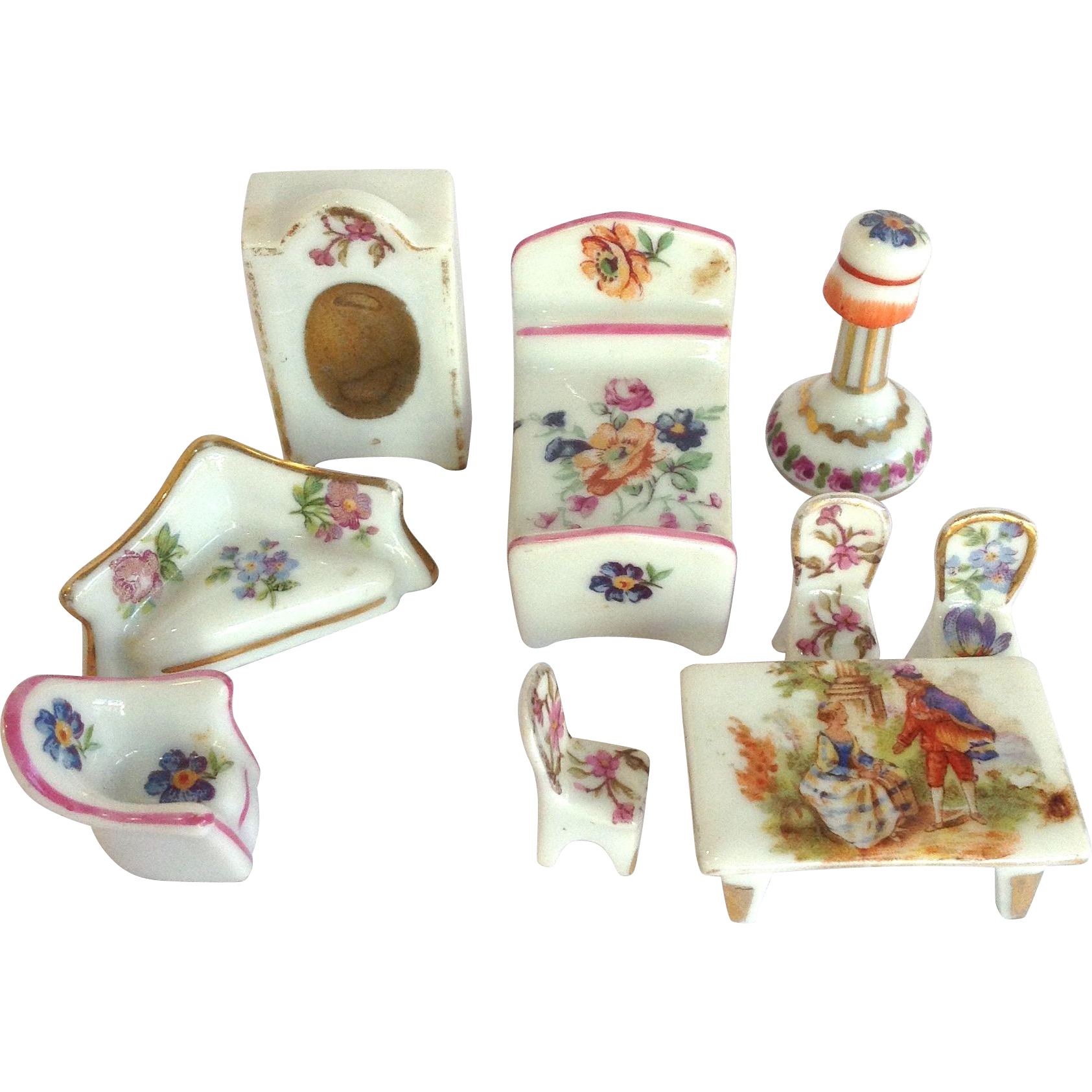 9 Limoges Porcelain Furniture Miniatures From