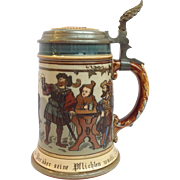 Mettlach Ten Men Drinking Stein #2028