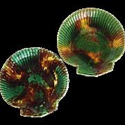 Pair Wedgwood Tortoise Glaze Clam Shell Plates 19th c.