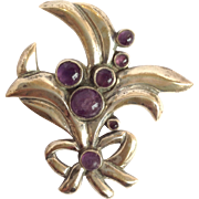 """Amethyst Leaves And Berries 3"""" Pin Mexican Sterling"""