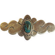 American Indian Sterling Turquoise Stone Pin