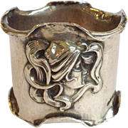 Kerr Lady's Head Napkin Ring Art Nouveau Sterling Circa 1890
