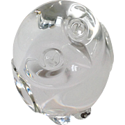 Steuben Crystal Owl Hand Cooler Paperweight Signed Figure #5516