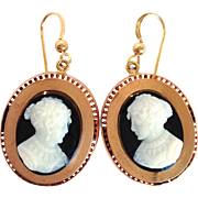 Victorian Hard Stone Cameo 14K Rose Gold Earrings