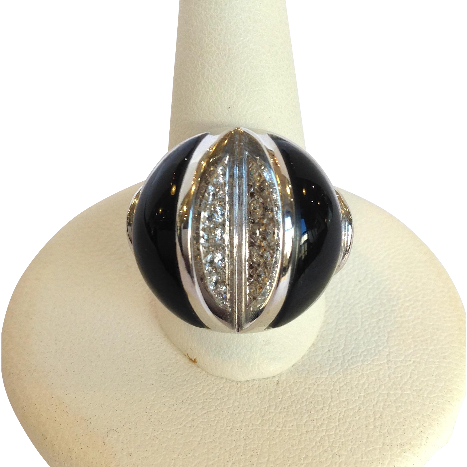 onyx 14k white gold ring italy from