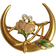 Crescent Moon Flower Pin Pearls 14K Gold Enamel