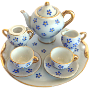Miniature Tea Set Occupied Japan Blue Flowers